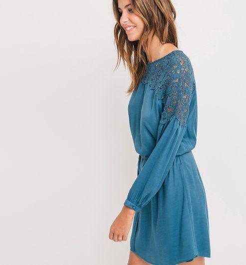 Robe+détail+crochet+Femme