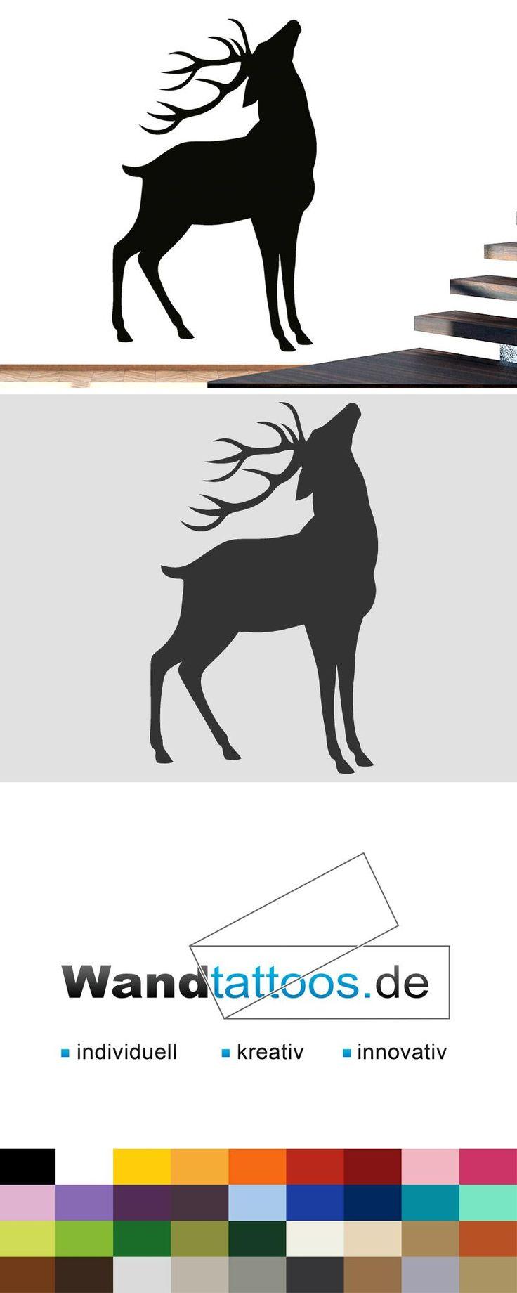 Wandtattoo Röhrender Hirsch als Idee zur individuellen Wandgestaltung. Einfach Lieblingsfarbe und Größe auswählen. Weitere kreative Anregungen von Wandtattoos.de hier entdecken!