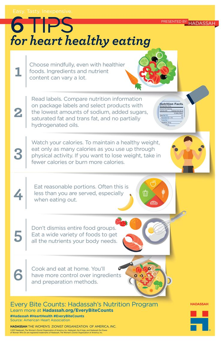 6 tips for heart healthy eating. Eat Healthier with Every Bite Counts: Hadassah's Nutrition Program
