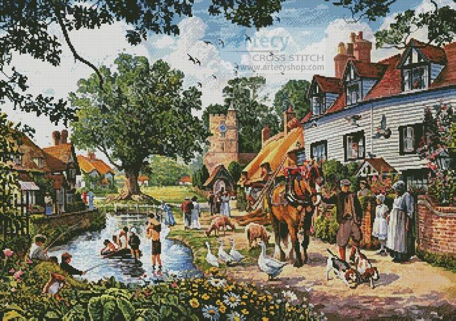 A Village in Summer - Cross Stitch Chart - Click Image to Close