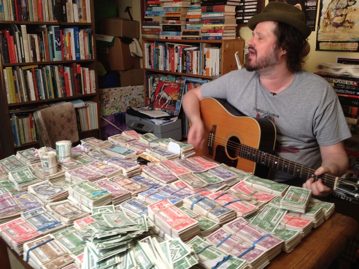 $3,939.50 as of June 15, 2012... if you'd like to see this pile double, you can send any loose Sandy McTyres to Corin Raymond at 39 Oxford St., Toronto ON, M5T 1N8. Turn your paper change into beautiful art! Don't spend it, honey!!