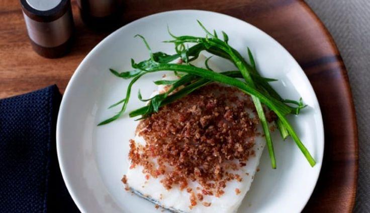 Roasted Norwegian haddock with bacon & rye crisp  and sea vegetables