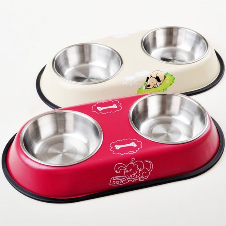 Hot sale Dual Bowls Design Stainless Steel Dog Feeding Bowl Cat Puppy Food Drink Water Dish Heat-Resistant Pets Pot
