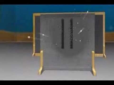 "Clássico experimento da física quântica chamdo Experimento da Fenda Dupla, onde demostra o carater dualístico da ""matéria"" que pode se comportar hora como pa..."