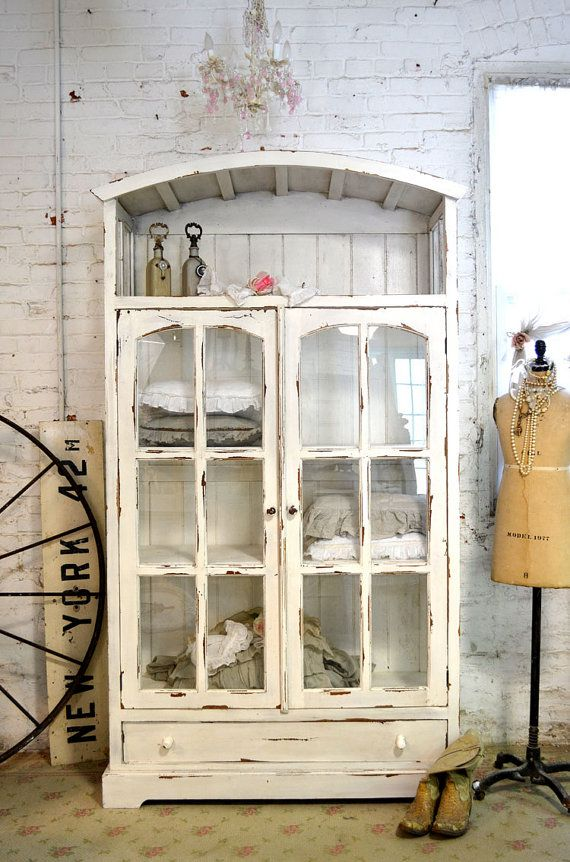 Painted Cottage Chic Shabby  Farmhouse Cabinet by paintedcottages, $995.00