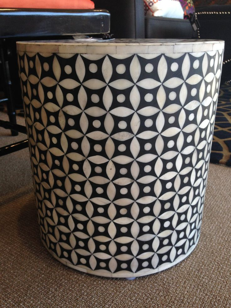 bone inlay side table or foot stool