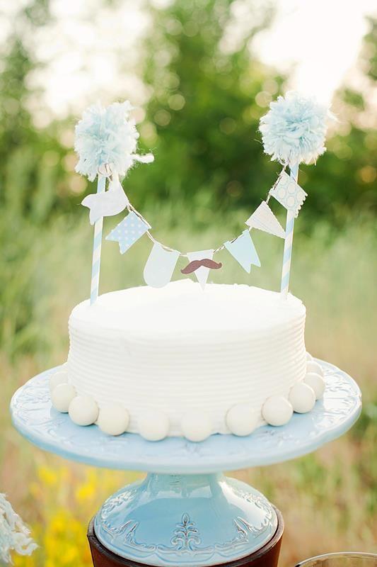 LOVE this cute cake topper! Mustache themed baby shower via Kara's Party Ideas | KarasPartyIdeas.com #mustache #baby #shower #birthday #party #cake #diy #topper