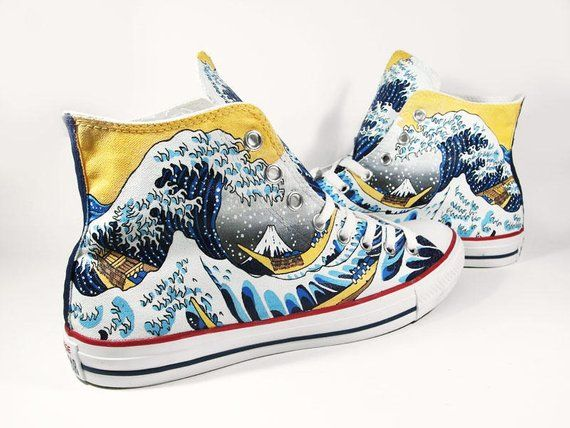 The Great Wave, custom painted converse hi sneakers by