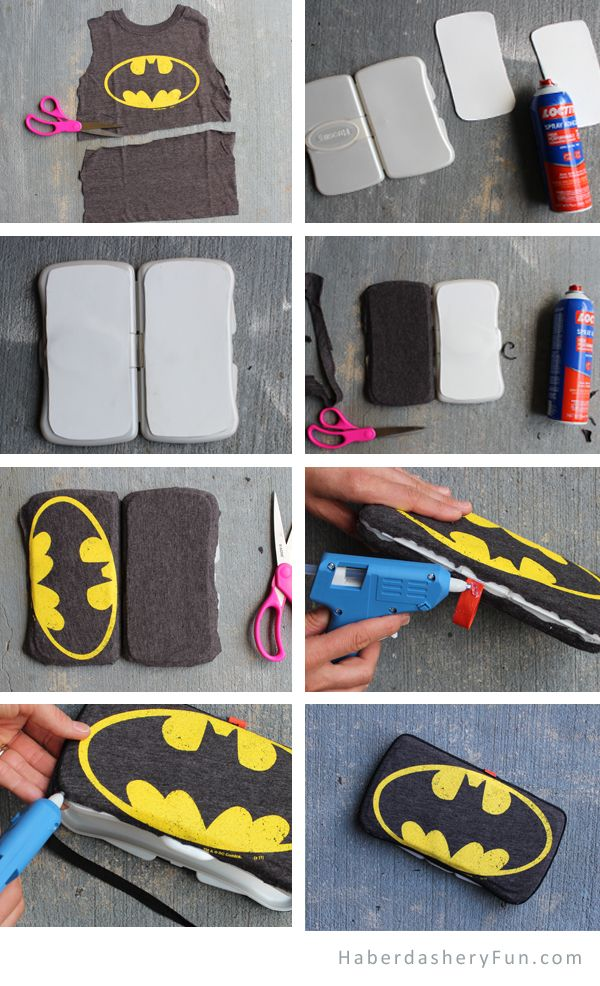 Haberdashery Fun Blog -- DIY.. Father's Day Superhero Wipes Case. Make from a T- Shirt. HaberdasheryFun.com