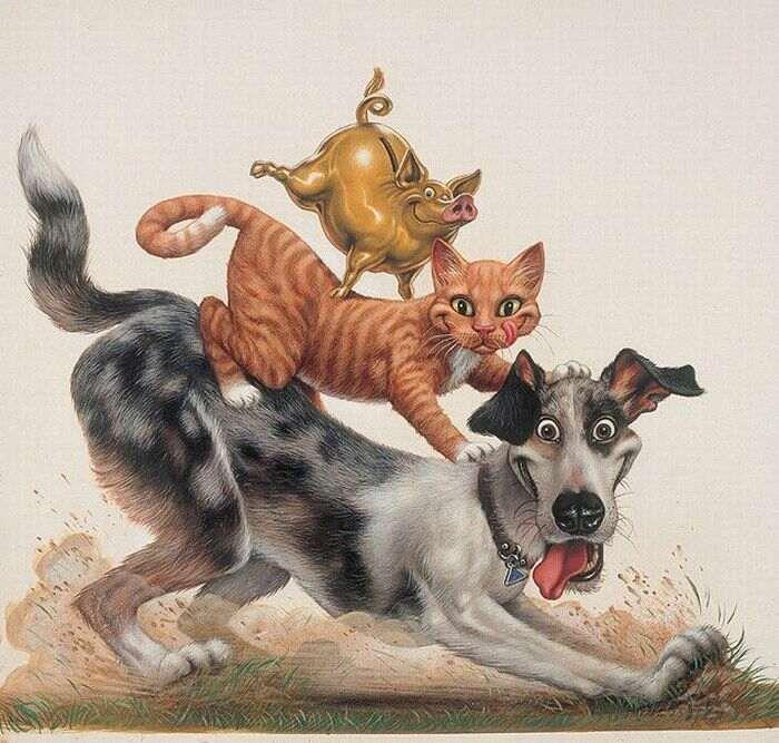 Днем, прикольные рисованные картинки с собаками с надписями ржачные