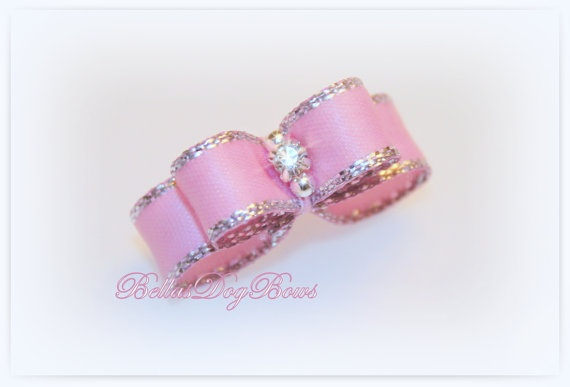 Sweet Pink Orchid with Silver Metallic Edge by BellasDogBows, $6.25