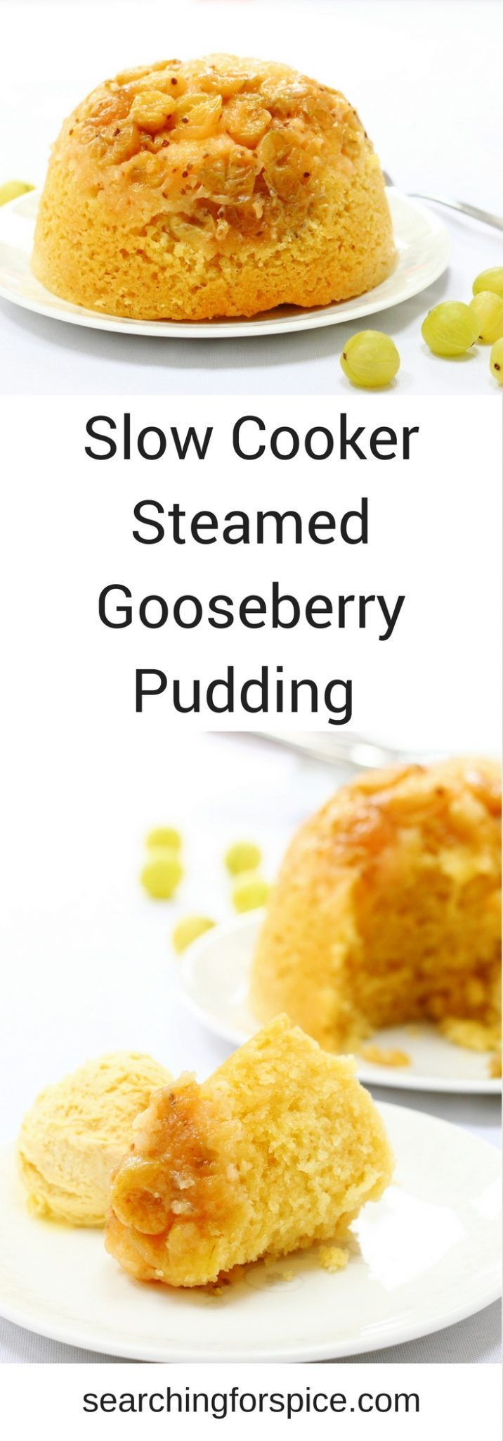 Comforting recipe for a slow cooker steamed gooseberry pudding. Perfect to make in summer with seasonal fruit as the slow cooker won't heat up your kitchen. If you can't find gooseberries, just replace with other seasonal fruit such as apples, plums or ch