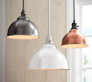 PB Classic Pendant - Metal Bell #potterybarni like the industrial appeal of this whether in an oil rubbed bronze or the copper....