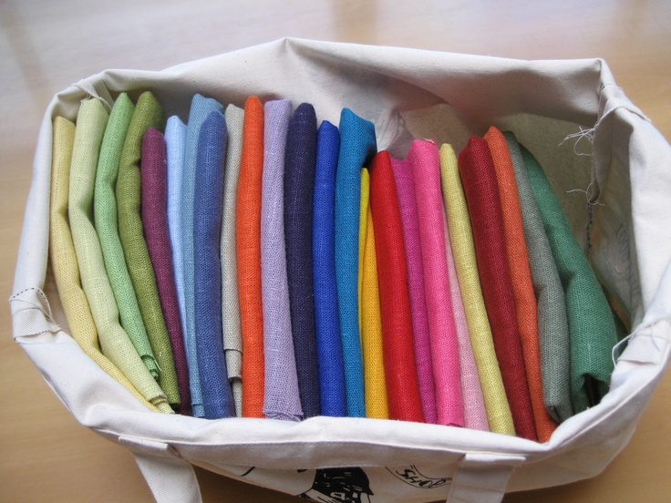 Fabulous linen fabrics from The Cloth Shop in Portobello Road, 45 colours to choose from.