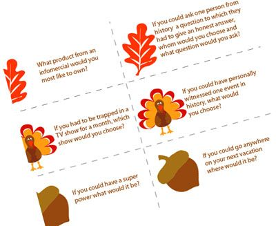 Table Topics Ideas Funny what is planning Fun Conversation Starters For Thanksgiving Dinner
