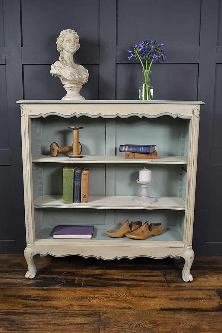 This delightful French bookcase will really bring charm and sophistication to any room! Painted in a mix of Annie Sloan Duck Egg Blue and Original with Old White, this beautiful pastel palette will work well in any room