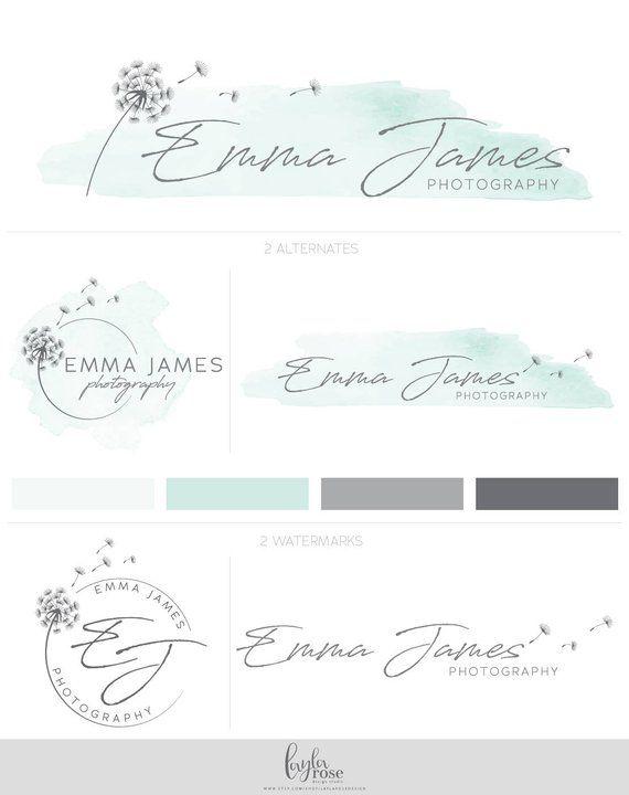 Premade Logo, Photography Logo, Custom Logo Design, Logo Design, Dandelion Logo, Watercolor Logo, Logo Design, Mint Logo, Graphic Design