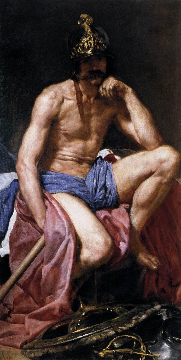 VELÁZQUEZ [Spanish Baroque Era Painter, 1599-1660] Mars, God of Warc. 1640