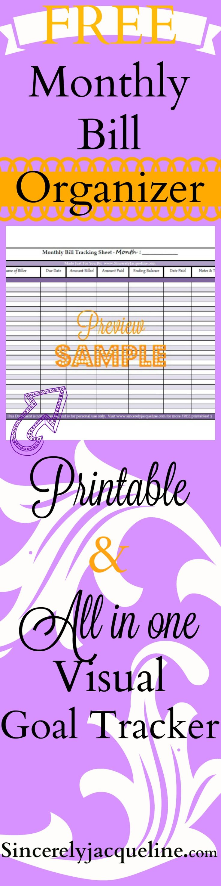 FREE printable- Monthly Bill Organizer printable spreadsheet. Tracks 7 critical pieces of data to keep your money and finances organized.  You will be learning how to save money by being able to see everything all in one place!  Doubles as a visual goal tracker.  Built in money budgeting format. Want to know how to budget money?  Want to be organized? Want to pay off your debt? Then you NEED this FREE  printable.  Try it, you have nothing to lose, and SO MUCH to GAIN. :)