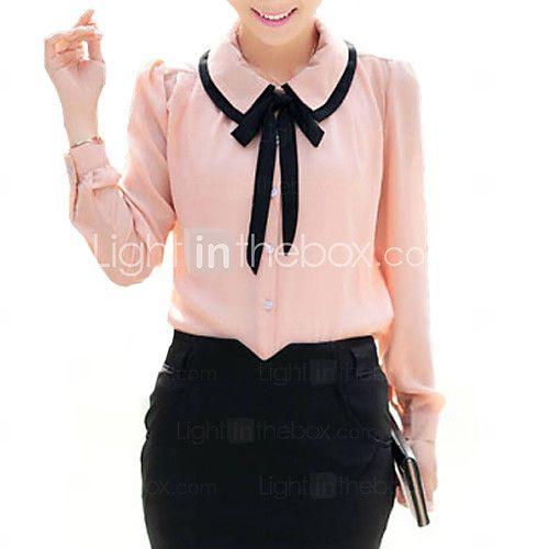 bonito contraste das mulheres arco colarinho da camisa meia manga de 2017 por R$30.39