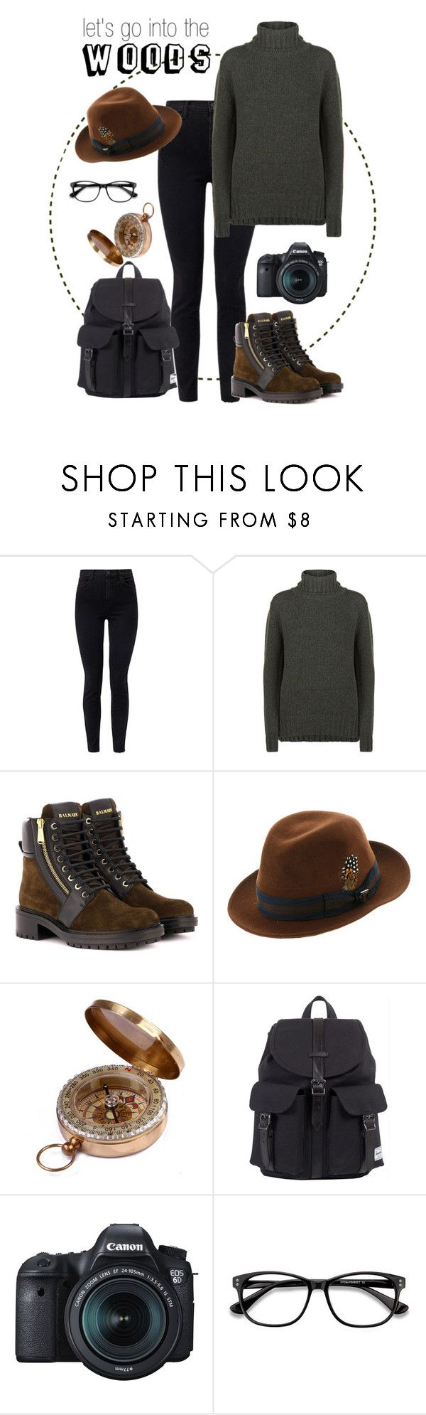 """Balmain boots and fedora"" by noemi-k ❤ liked on Polyvore featuring J Brand, Purdey, Balmain, Stacy Adams, Herschel, Eos and EyeBuyDirect.com"
