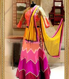 Buy Multi colour plain art silk unstitched lehenga choli lehenga-choli online