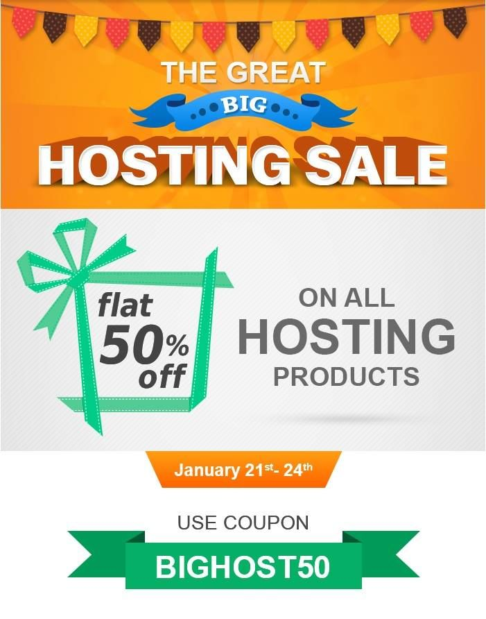 What's on your mind?Bigrock Surprise Sale!! It's the Great Big Hosting Sale. Grab 50% off on all Web hosting products at http://bit.ly/20i8dOl for a limited period only #hosting #website Bigrock Reviews http://goo.gl/hzWyKS
