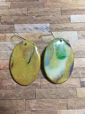 Handcrafted Polymer & Resin Drop Earrings Multicolor Green Gold Earthy Tone Oval  | eBay