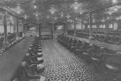 2nd Class: The Dining Room was 71 foot long and it could seat 2394 people at one sitting. The room had oak panels with pivoted sidelights which provided a great elegance dining room. There was a piano in the room to entertain diners. All the furniture was mahogany with crimson upholstery.