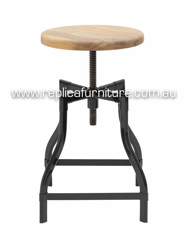 Replica Turner Industrial Stool - Height Adjustable -- This chic Industrial stool is based on classic 1930's French Design.
