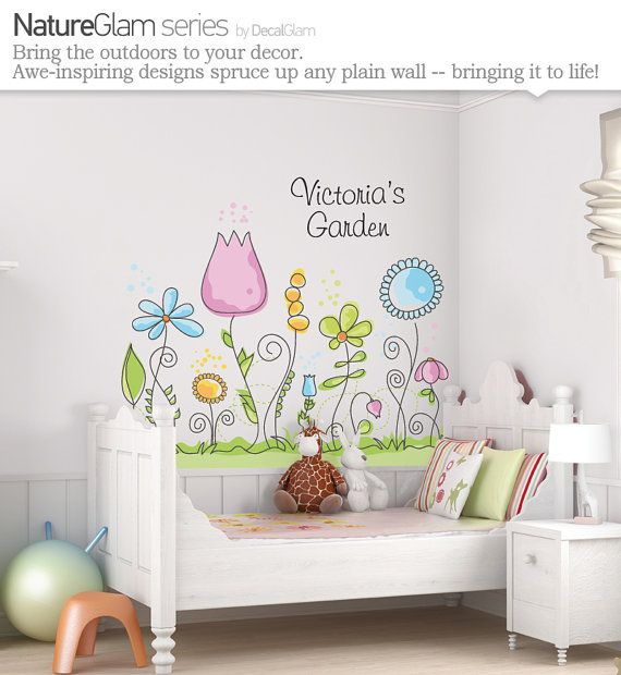 Childrens Wall Decal  Flower Garden with Name by DecalGlam on Etsy, $125.00