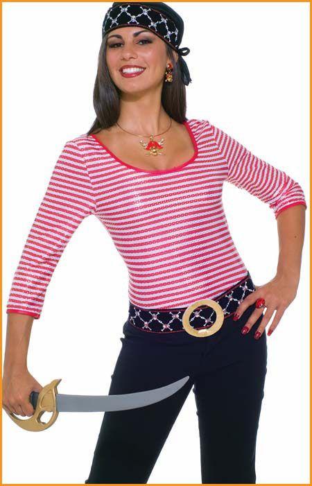 Womens Pirate Costume Shirt Red/White Stripes