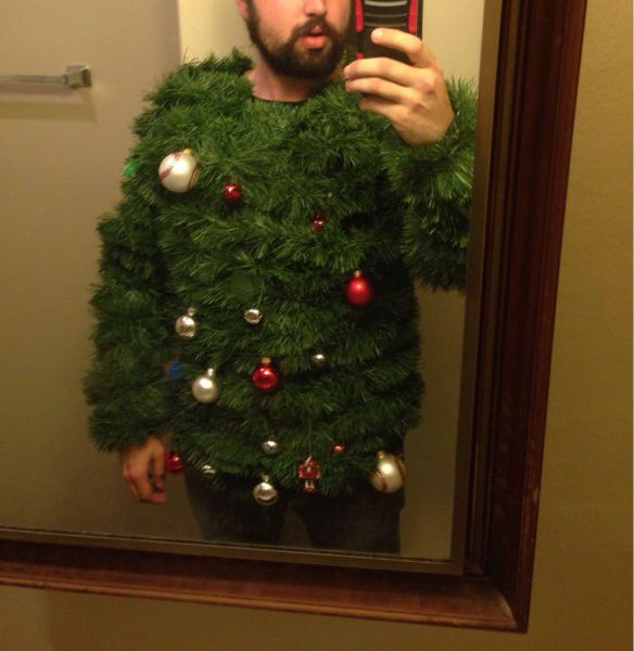 The ugliest Christmas sweater of all....gotta remember this for next year!!