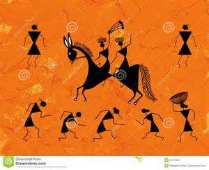 Pittura tribale di warli sulla parete arancione.
