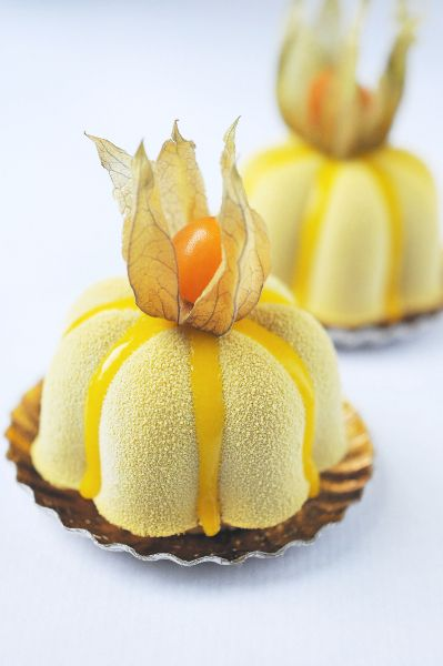 "Christophe Roussel ""Mister Mango"": mango, pineapple and dark chocolate mousse"