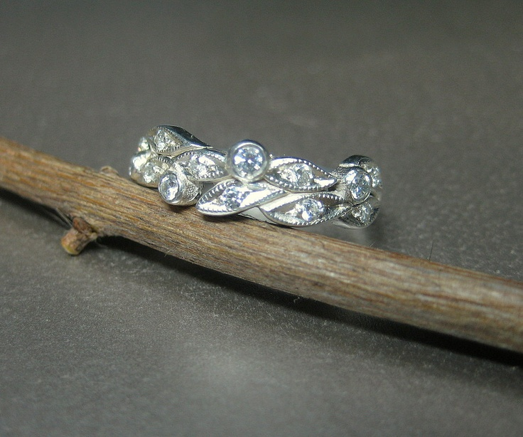 Leaf Engagement Ring Wedding 14k White Gold Leaves With Diamonds