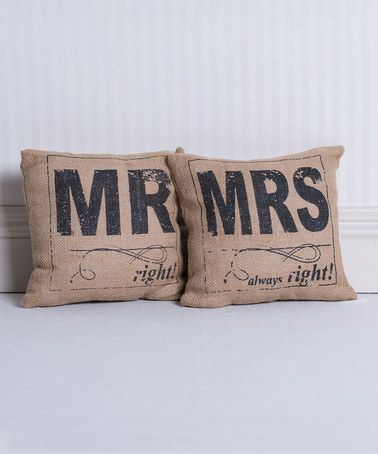 This 'Mr' & 'Mrs' Accent Pillow Set is perfect! #zulilyfinds