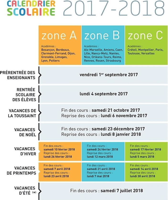 Calendrier des dates des congés scolaires 2017-2018