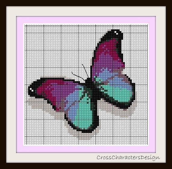 Cross stitch pattern - Violet papillon - Instant Download!