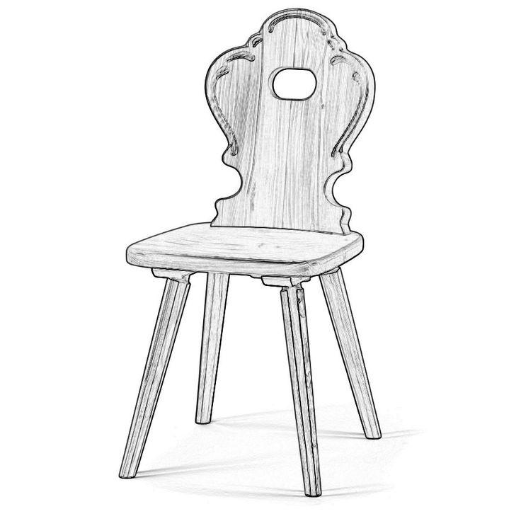 W5940. Sedia grezza stile tirolese con struttura a scelta tra il legno di abete, cirmolo, faggio e rovere.