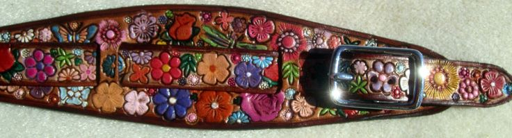 IPod Nano Made in GA USA Leather Watch Band or Wrist Band Cuff with Flower Garden Design and Brown Border Custom Sized by galeatherlady on Etsy