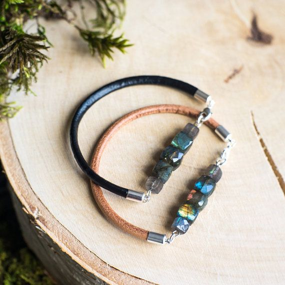 minimalistic leather bracelet with natural by MyROCKandSOUL