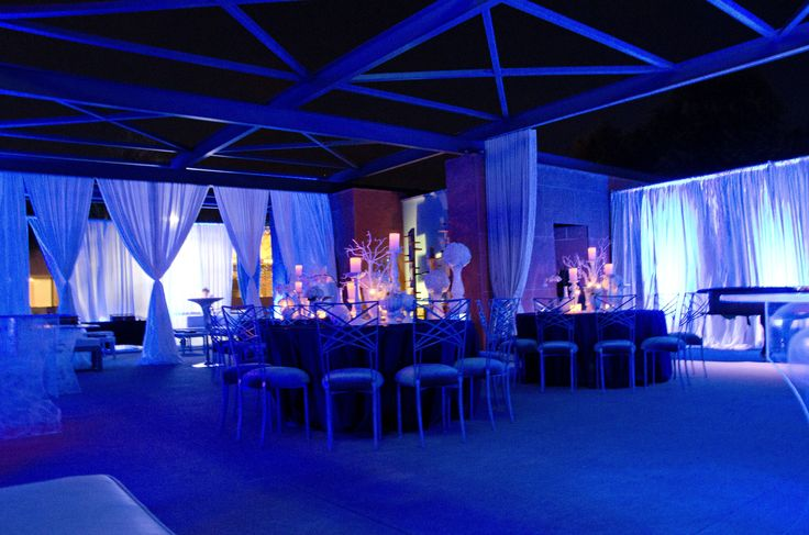 Outdoor terrace lighting and drapes cocktail reception for Terrace party decoration