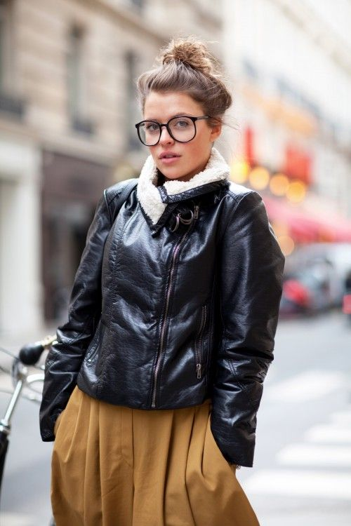 on the street in Paris. Rockin' the shearling moto and the specs. Just a touch of epic.