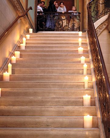 flameless candles on the stairs