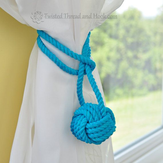 Blue Monkey Knot Curtain Tiebacks with by TwistedThreadAndHook