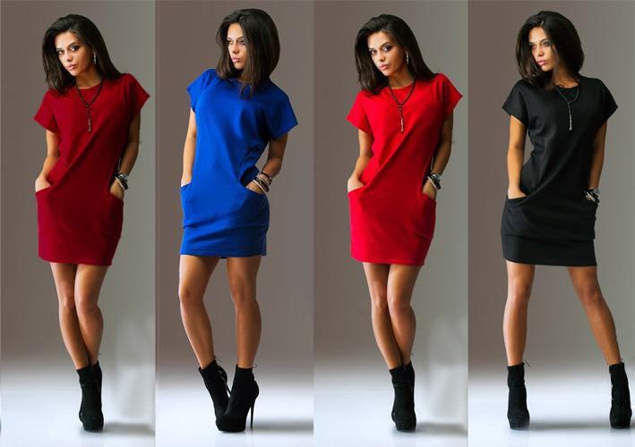 Женщины свободного покроя платья прямо с коротким рукавом твердого солор о образным вырезом женский мини платье два карманный черные платья Witnout ожерелье LQ8929C купить на AliExpress