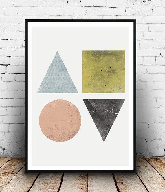 Geometric art watercolor print abstract art print by Wallzilla