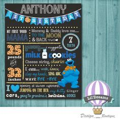 COOKIE MONSTER  Chalkboard - DIGITAL - First Birthday Chalkboard Poster - 8x10/11x14/16x20 by LilDreamsDesign on Etsy https://www.etsy.com/listing/214091073/cookie-monster-chalkboard-digital-first