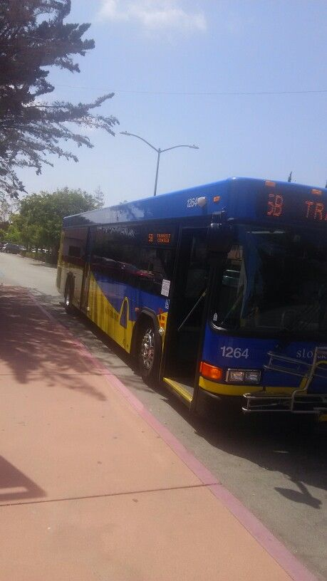 """San Luis Obispo Transit Bus 1264 operates the """"B"""" schedule of Route 5 at the Amtrak Station."""